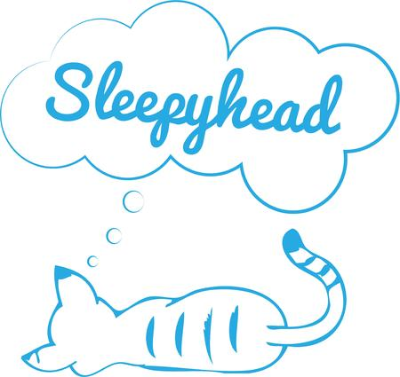 companions: A sleeping kitty dreams of happy days with their people companions.  This one color tabby is a super sweet drawing. Illustration