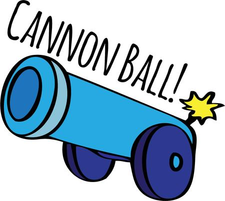 this: Decorate with a bang This cannon is lit and ready to fire. Illustration