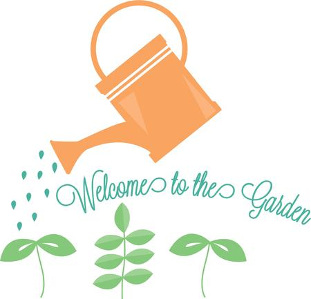 water can: Water these baby plants with this old fashion watering can.  After all love and water make the garden grow. Illustration