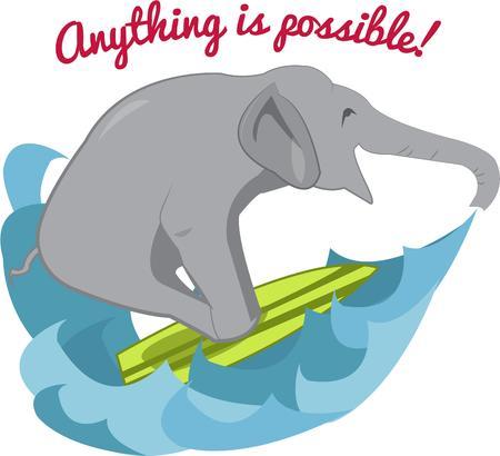 해학적 인: What could be more humorous than a surfing elephant.  This unexpected event adds a bit of humor to any project.