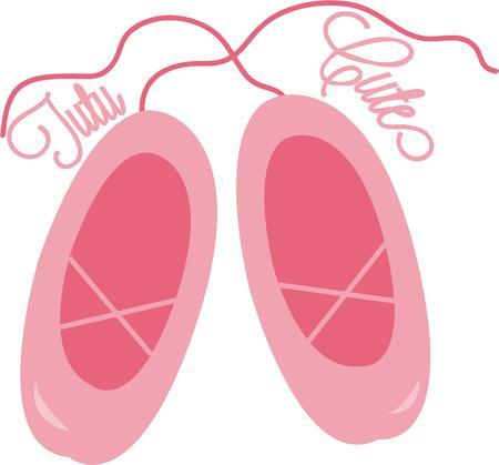 ballet slippers: Dance en pointe with these pretty in pink ballet shoes.  Perfect for your princess gear. Illustration