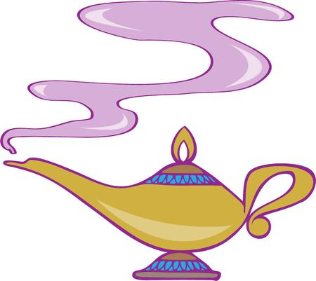 granted: Wishing for a magical design  Wish granted with this lovely magic lamp.  Great for kid dcor Illustration