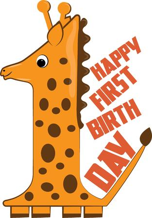 try: One giraffe makes a cute decoration for baby nursery gear.  Try it on the first birthday shirt