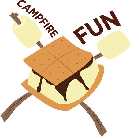 cracker: Whats camping without a smore  Just a graham cracker chocolate ane marshmallow create a heavenly treat Illustration