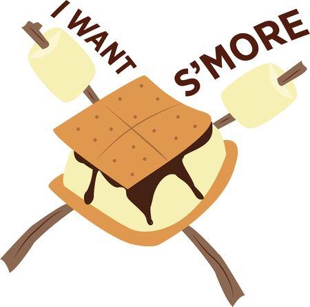 treat: Whats camping without a smore  Just a graham cracker chocolate ane marshmallow create a heavenly treat Illustration