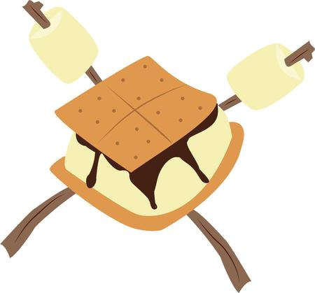 tratar: Whats camping without a smore  Just a graham cracker chocolate ane marshmallow create a heavenly treat Ilustração