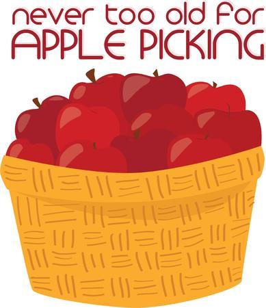 bushel: Yummy apples fill a pretty wicker basket.  Remember an apple a day keeps doctor away.
