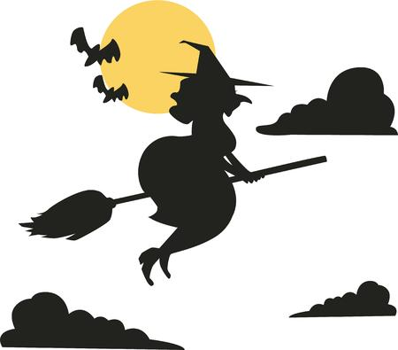 crone: Hallowen wouldnt be complete without a flying witch. Illustration