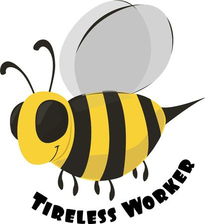 accent: Bees are a great accent for all garden designs. Illustration