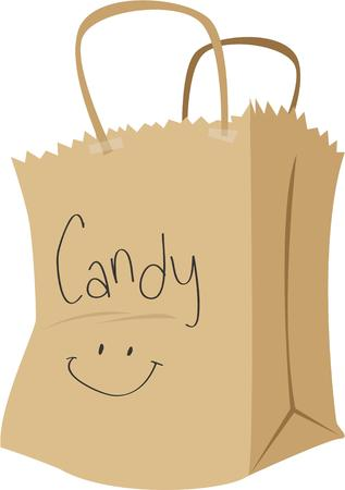 treating: Go trick or treating with a bag of candy.