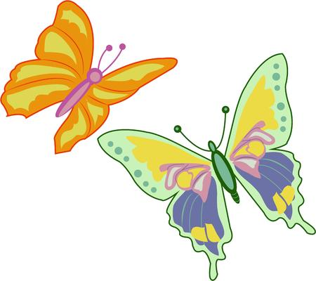 brighten: These butterflies can brighten up any design. Illustration