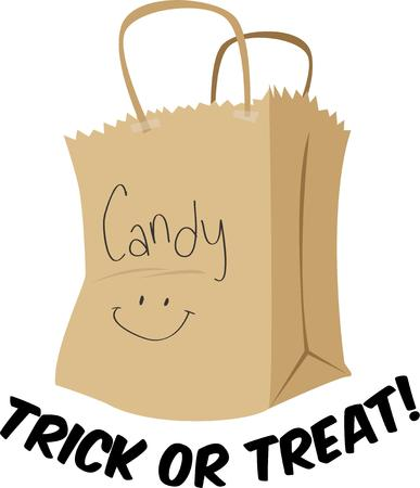 treating: Go trick or treating with a bag of candy Illustration