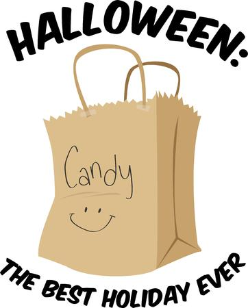 trick or treating: Go trick or treating with a bag of candy Illustration
