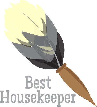 feather duster: Time for cleaning.  This feather duster will make the job a snap Illustration