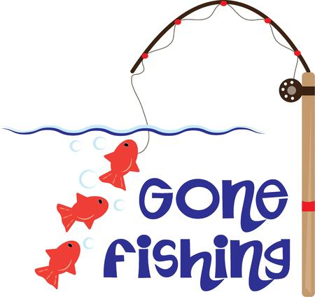 oranda: Its always a good time for fishing  especially today  One on the line and two waiting to be caught. Illustration