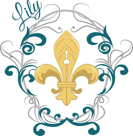 egyptian culture: This swirly fleur de lis is a great way to add a touch of elegance.  Depth is added to the swirly frame with subtle color changes. Illustration