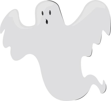 specter: A happy halloween ghost. Illustration