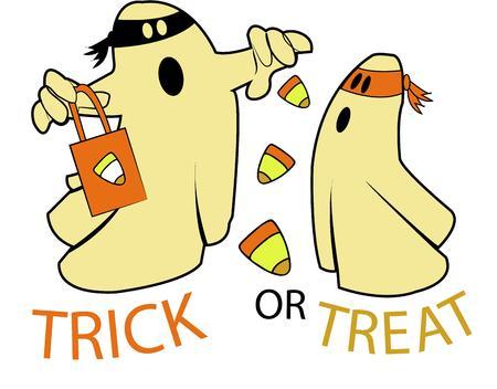 specter: Happy halloween candy corn ghosts.
