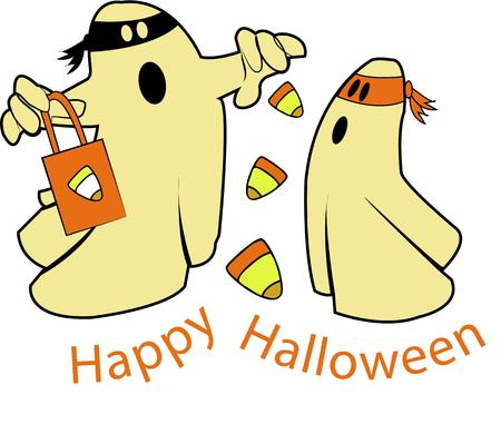 candy corn: Happy halloween candy corn ghosts.