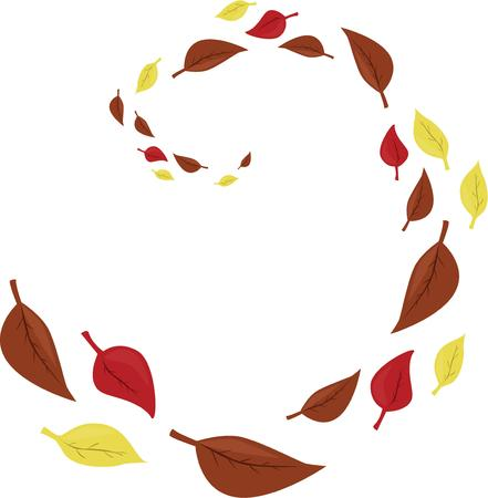 fall leaves: Swirling fall leaves are a lovely sesonal design. Illustration