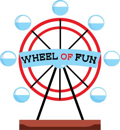 carnival ride: The best and most popular ride at the carnival is the ferris wheel.  Ride to the top and see for miles Illustration