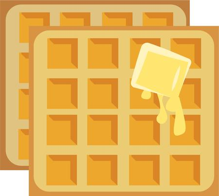 buttered: Waffles with melted butter  a breakfast delight.  Serve up a big stack Illustration