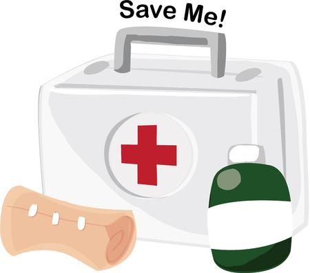 emergency kit: A first aid kit is a vital part of emergency gear.  This graphic is a perfect choice for emergency preparedness signage.