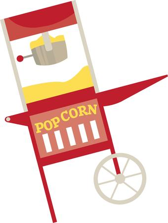 buttered: Popping up corn for the big event in a fun cart.  This cart is a perfect addition to any event. Illustration