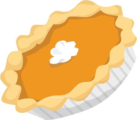 whip cream: It isnt quite a Thanksgiving dinner without pumpkin pie  This pie is a perfect dessert with a dollop of whipped cream in the center Illustration