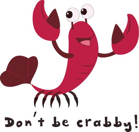 delivers: Add your text and our cute little crab delivers some good advice.  So very cute on apparel for any age.