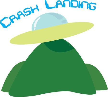 science fiction: Space aliens komen aan boord van dit vliegende schotel. Een leuk ontwerp voor een science fiction motief. Stock Illustratie