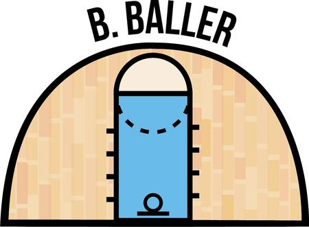 b ball: The parquet floor of the basketball court is outlined in this graphic.  Free throws and fowl shots are clearly marked off in this court. Illustration