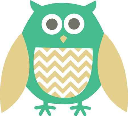 way out: This trendy owl decked out in chevron is a perfect way to decorate apparel or pillows. Illustration