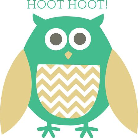 way out: This trendy owl decked out in chevron is a perfect way to decorate apparel or pillows.