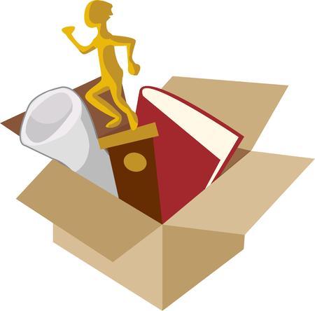 adorn: Empaque sus objetos de valor y la cabeza a la universidad. No te olvides de los trofeos libros y tesoros especiales para adornar el dormitorio. Vectores