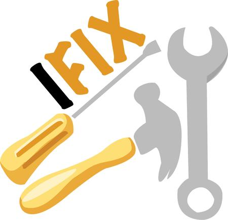 knocker: The right tools for any job.  Add these tools to a special project for your favorite handyman. Illustration