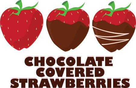 dipped: Go from a plain strawberry to a chocolate dipped and decorated strawberry  However you choose this yummy snack is sure to be a favorite. Illustration