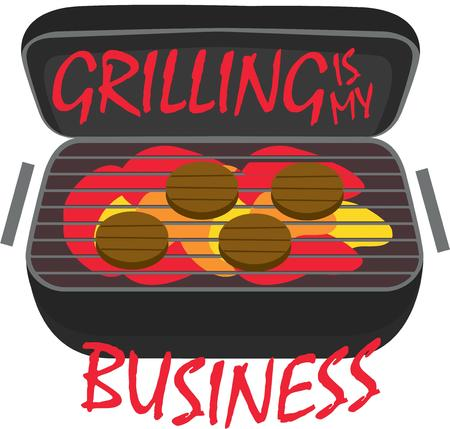 gas barbecue: This portable grill is great for the camper.  Throw on some burgers and your are set for the perfect outdoor meal. Illustration