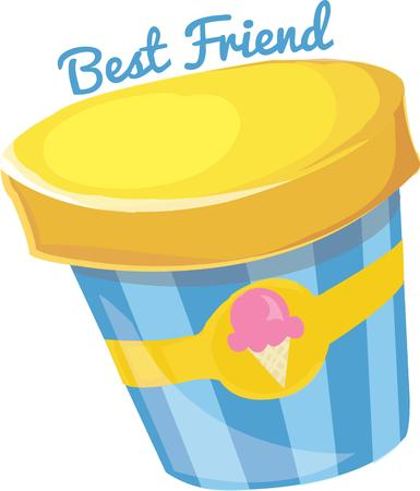 universally: Few things are as universally loved as ice cream.  This colorful canister is  a great way to create invitations to your ice cream social. Illustration