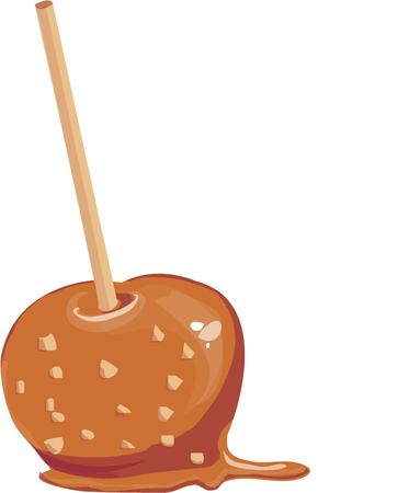 tratar: What fall event is complete without a caramel apple  This pretty apple covered with nuts is a yummy treat Ilustração