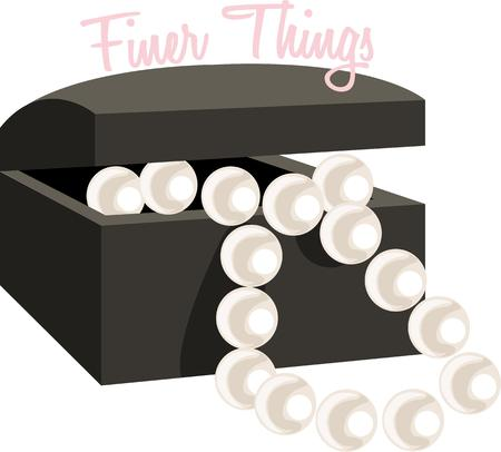 finer: Una cadena encantadora de perlas en una caja de terciopelo negro es el regalo perfecto. Cada chica necesita un collar de perlas. Vectores