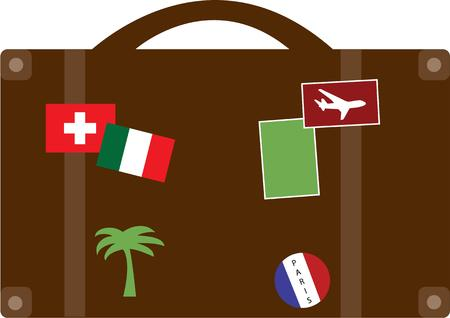 suit case: This well traveled suit case has been all over.  This graphic is perfect for travel agencies or world travelers. Illustration