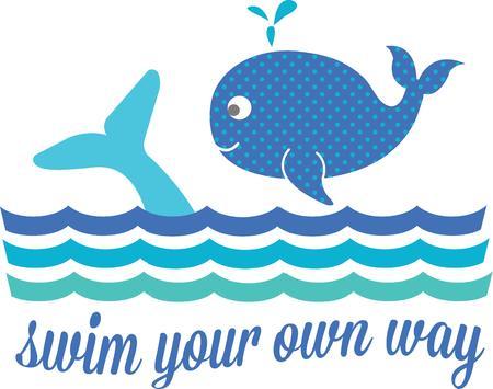 baleen whale: Peque�as ballenas lindas nadan las olas, creando una manera super dulce para adornar su engranaje del beb� o incluso toallas de ba�o. Diversi�n para los ni�os y los adultos tambi�n.