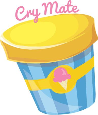 sorbet: Few things are as universally loved as ice cream.  This colorful canister is  a great way to create invitations to your ice cream social. Illustration