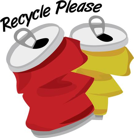 soda pop: Crush and recycle.  Use this graphic of empty soda cans as a recycling reminder.