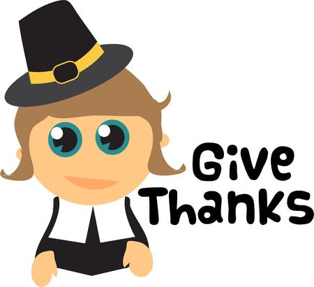 give thanks to: Pilgrims are a thanksgiving icon. Illustration