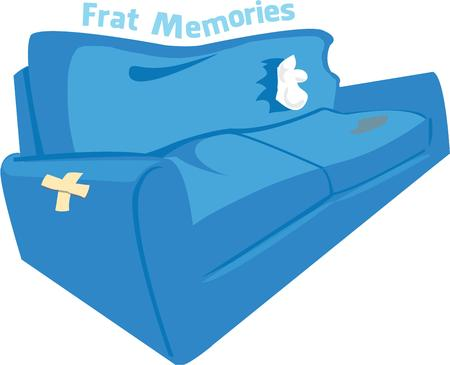 college dorm: This worn and battered sofa from the college dorm brings back many memories.