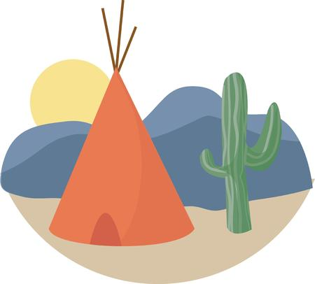 teepee: This teepee is built in the desert with nothing for shade except this cactus.  A fun decoration for a western theme or an Indian theme event.