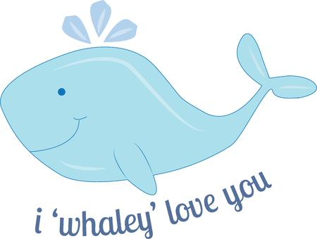 baleen whale: A cute whale can express love for someone special. Illustration