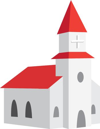 congregation: This traditional church building stands ready to decorate your religious projects.  We love the red roof  makes this church a real stand out.